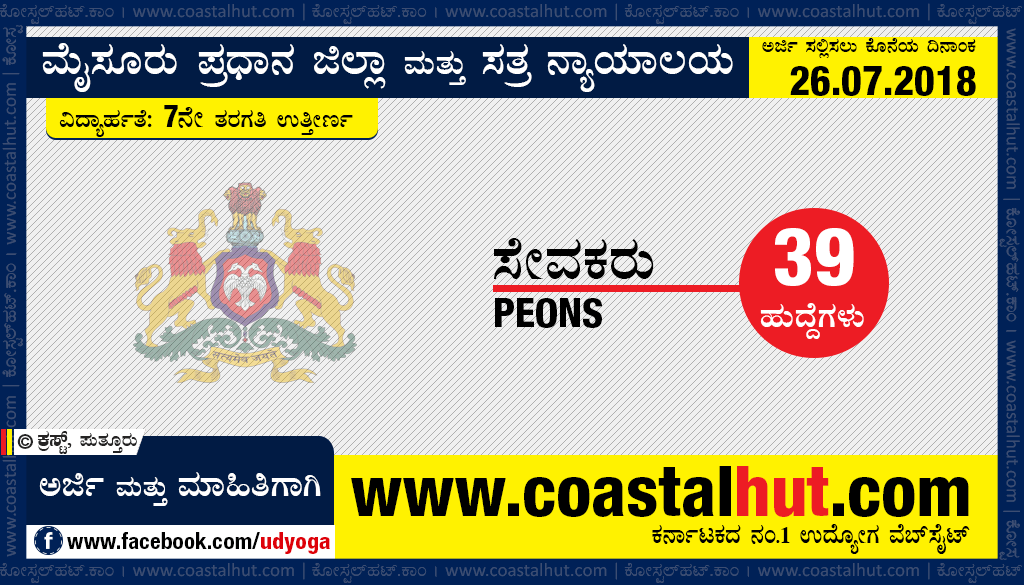 Recruitment of Peons for Mysore District & Sessions Court – Apply Online